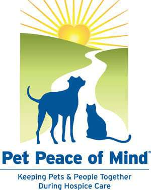 Pet Peace of Mind logo. Keeping pets and people together during hospice care. Logo is a cat and dog looking into the sunset