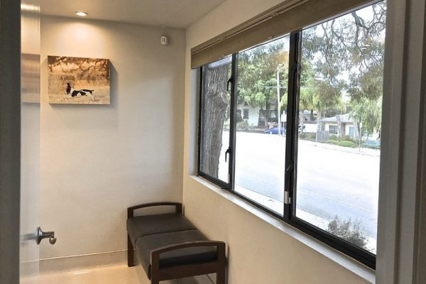 You'll be welcomed into one of three exam rooms, each equipped with seating for you and your pet.